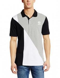 Reebok Men's Polo (4057284267304_AY1215_Large_Black, Mid Grey Heather and White)