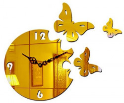 Sehaz Artworks 'Moon Butterfly' Asymmetric Acrylic Wall Clock (25 cm x 25 cm x 2 cm, Gold)