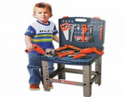 Toyzstation 69 Piece Toy Tool Kit Play Set Portable Folding Work Bench Workshop with Drill