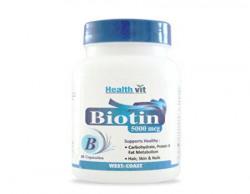 HealthVit Biotin 5000mcg 60 Capsules (Hair, Skin & Nails)