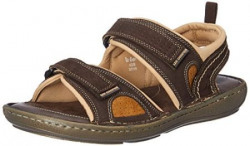 Lee Cooper Men's Dark Brown Leather Sandals and Floaters - 9 UK/India (43 EU)