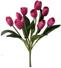 Fourwalls Beautiful Artificial Tulip Bunch (40 cm, 9 Flowers, Rani)
