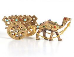 Little India Gemstone Studded Pure Brass Camel Handicraft (184, Brown)