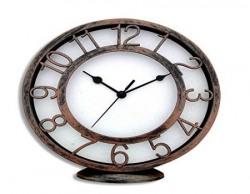 Random Clocks Antique Round Plastic Wall Clock cum Table Clock (19 cm x 21 cm x 4 cm, Copper)