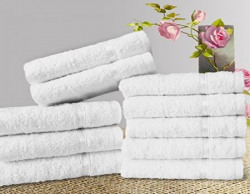 Story@Home Solid 10 Piece 450 GSM Cotton Face Towel Set - White