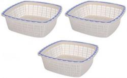 Nayasa Plastic Basket Set, Set of 3, Blue
