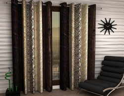 Home Sizzler Abstract 2 Piece Eyelet Polyester Door Curtain Set - 7ft , Brown