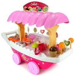 Toyshine Ice Cream Kitchen Play Cart Kitchen Set Toy with Lights and Music