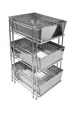 Klaxon Stainless Steel Three Shelf Kitchen Basket (Silver)