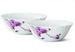 Larah by Borosil Lily Blossom Glass Mini Serving Bowl Set, Set of 2, White