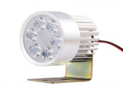 Autofy Universal 6 LED Round Fog Auxiliary Light with Metal Stand for All Bikes (White)