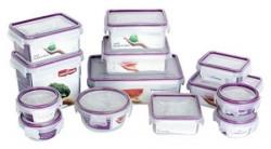 Princeware Click N Seal Plastic Container Set, 13-Pieces, Violet
