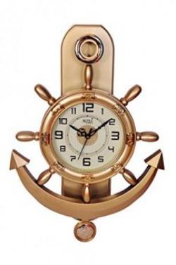 Altra Plastic Pendulum Wall Clock (45 cm x 30 cm x 5 cm, Copper)