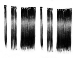 Artifice 6 Pcs 14 Clips Based 22 inch High Temperature Synthetic Fiber Hair Extension (Natural Black)