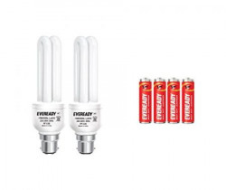 Eveready ELD 15-Watt CFL (White, Pack of 2) with free 4 'AA' Batteries