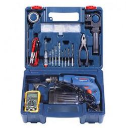 Bosch Electrician Kit GSB 550 Watt Impact Drill Kit (Blue, 77-Pieces)