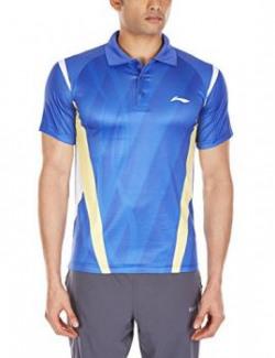 Li-Ning ALPH421-4 Collar Badminton T-Shirt, Men's XXX-Small (Blue)