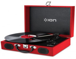 Ion Audio Vinyl Transport VJR01 Portable Briefcase Style Turntable (Red) with Built-In Stereo Speakers
