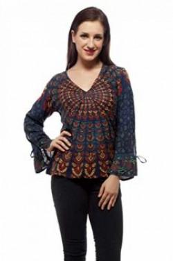 Indi Bargain Women's Viscose Printed Top (203Green_Green_Medium)
