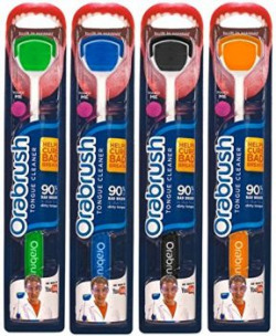 Orabrush Family Pack Tongue Cleaner - Pack of 4 (Green, Blue, Black and Orange)