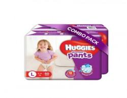 Huggies Wonder Pants Large Size Diapers (Pack of 2, 50 Counts per Pack)