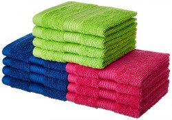 Solimo 100% Cotton 12 Piece Face Towel Set, 500 GSM (Iris Blue, Paradise Pink and Spring Green)