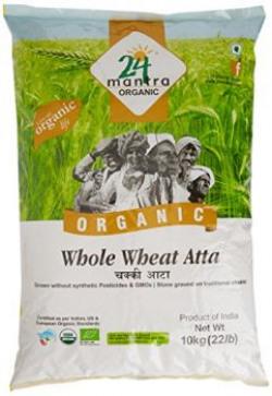 24 Mantra Organic Whole Wheat Premium Atta, 10kg