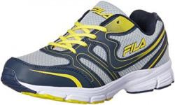 Fila Men's Barek Grey, Navy and Yellow Running Shoes - 8 UK/India (42 EU)