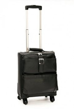 MBOSS Faux Leather 4 wheel 29 Liter Cabin Luggage Trolley bag with Free Laptop Sleeve - ONT_081_Black