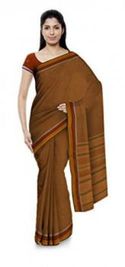 SKCWSL Women's Tant Handloom Cotton Saree Without Blouse Piece (Orange)
