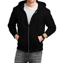 Fanideaz Men's Cotton Solid Zipper Sweatshirt with Hood_Black_S