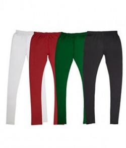 Vimal Women's Cotton Blended Churidhar Leggings Pack Of 4