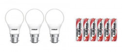 Eveready Base B22D 7-Watt LED Bulb (Pack of 3, Cool Day Light) with Free 6 AAA Alkaline Batteries