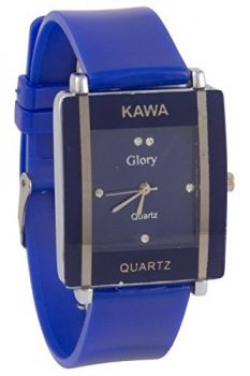 Kawa Dark Blue Color With Rectangular Crystal Studded Dial Watch For Women