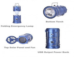 Model 5806 Solar Rechargeable Emergency Light Lantern + Bottom LED Torch + Top Fan, Travel Camping Lantern - Assorted Color