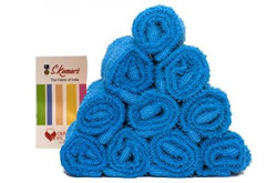 Skumars Love Touch Knitted Face Towels Set (Pack of 10) 300 GSM - Blue