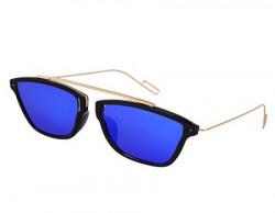 Silver Kartz Stylish Eyedior Golden Bar Blue Mercury Sunglasses (wy207)