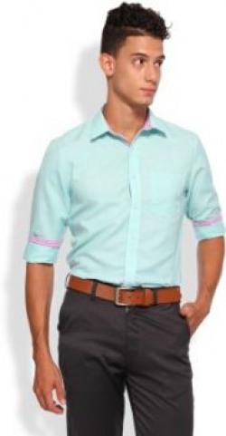Brooklyn Blues Men's Self Design Casual Light Green Shirt