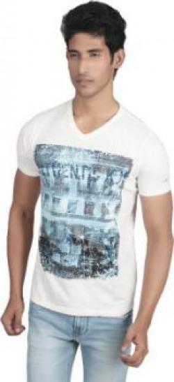 Killer Printed Men's V-neck White T-Shirt