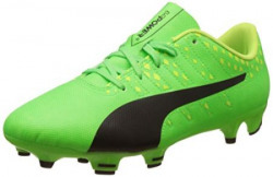Puma Boy's Evopower Vigor 4 Fg Jr Green Gecko, Puma Black and Safety Yellow Sports Shoes - 5 UK/India (38 EU)