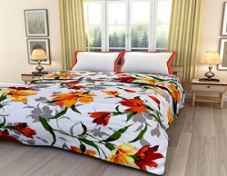 eCraftIndia Colorful Floral Design Printed Single Bed Reversible AC Blanket