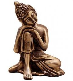 eCraftIndia Resting Buddha on Knee Metal Showpiece (7.5 cm x 5.38 cm x 9.38 cm, Brown)