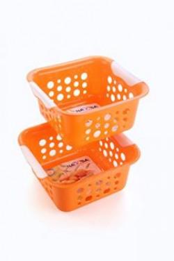Nayasa Spotty No. 1 2 Piece Plastic Fruit Basket Set, Small, Orange