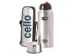 Cello Flip Style Stainless Steel Bottle, 1 Litre, Silver