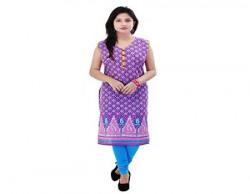 Rangkrit Women's Fashion Designer Sleeveless Straight Cut/A-line Cotton Kurta/Kurti, Multicolor