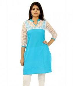 Janasya Women's Blue Cotton Kurti at Just 172