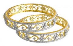 JFL - Traditional Ethnic Fusion Cz American Diamond Floral Flower Designer One Gram Gold Plated Bangles for Women & Girls.