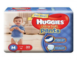 Huggies Ultra Soft Pants Medium Size Premium Diapers for Boys (White, 30 Counts)