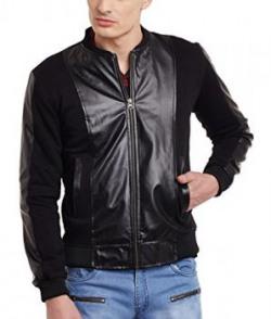 Fugazee Mens' All Black Everything Faux Leather Bomber Jacket Size:- M