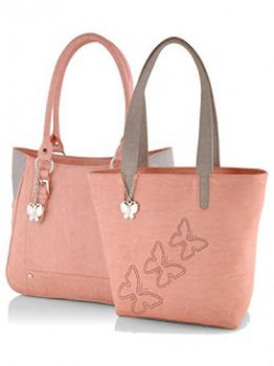 Butterflies Women's Handbag (Peach) (BNS CB044)